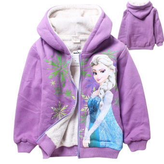 Harga Korean Fashion 5-12 Years Old Girls Winter Travel Plus Velvet Double Warm Coats(Color:Purple Princess)