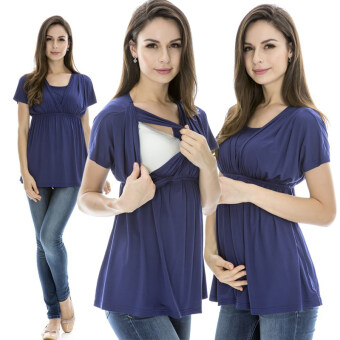 Harga MamaLove Summer Modal Maternity Clothes Nursing Breastfeeding Tops Pregnancy Clothes For Pregnant Women(Blue)Fit (M~XL)