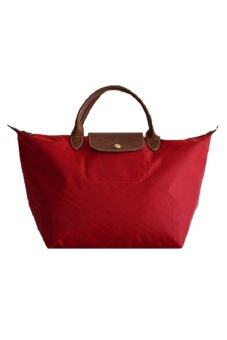 Harga Longchamp Le Pliage Medium and Short Handle Tote Bag Red