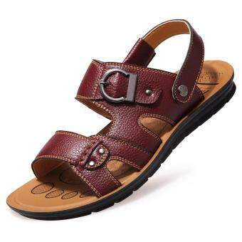 Harga Mens Leather Sandals Athletic and Outdoor Beach Slipper Shoes (Brown)