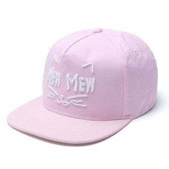Harga Men Women Cap Cute Cat Face Letter Hip Hop Kpop Dancing Baseball Snapback Hat pink