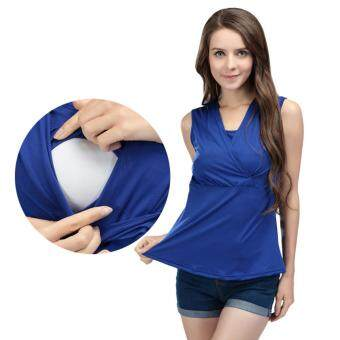 Harga MamaLove Modal Pregnancy Maternity Clothes Sleeveless Maternity Top Breastfeeding Tops For Pregnant Women (Blue) Fit (M~2XL)