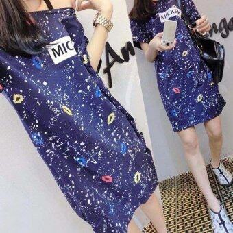 Harga JYS Fashion: Korean Ulzzang Style Midi Dress - Blue 1646 Ready Stock 1646 blue-2XL