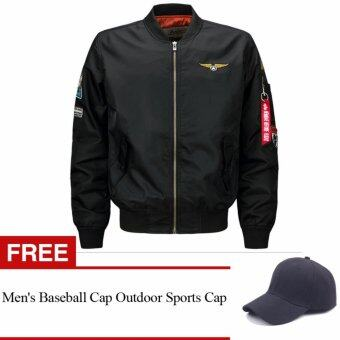 Harga Mens Solid Flight Collar Bomber Jacket(Free Baseball Cap Hat)