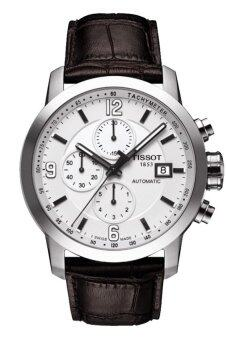 Harga Tissot T055.427.16.017.00 Men's PRC 200 Automatic Chronograph Brown Leather Watch