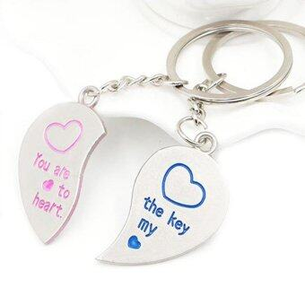 Harga A Pair of Lover Partner Keyring Love Heart Couple Keyfob Couples Key Chain Ring