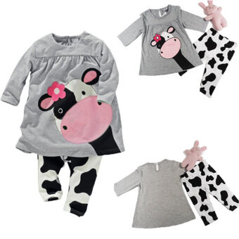 Harga BEINGQ 2Pcs Baby Kids Girls Boys Milk Cow Long Sleeve Tops plus Pants Outfits Sleepwear