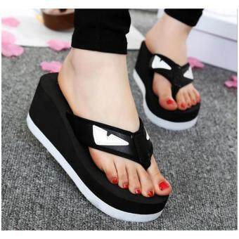 Harga Cartoon small monster eyes large base woman flip-flops 2017 new tide wedges antiskid beach flip-flops 838 black