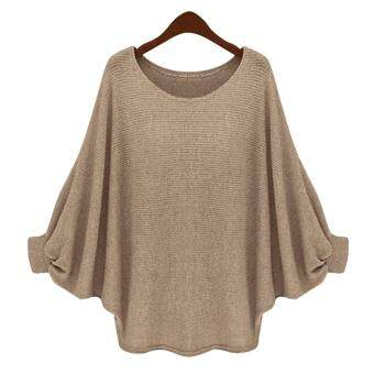 Harga MG O-Neck Batwing Sleeve Long Loose Pullover Sweater Top Blouse(Apricot)