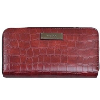 Harga Faux crocodile leather wallet (Dark Red)