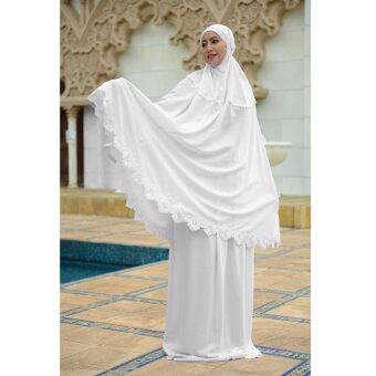 Harga Telekung dewasa cotton exclusive - Suci - White