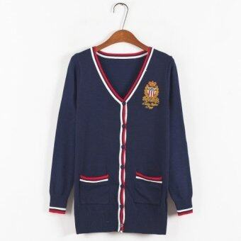 Harga British College Badge Cardigan Sweater Navy