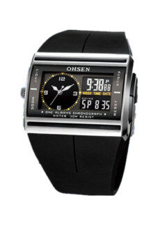 Harga OHSEN Digital Rubber Sport Waterproof Black Mens Watch