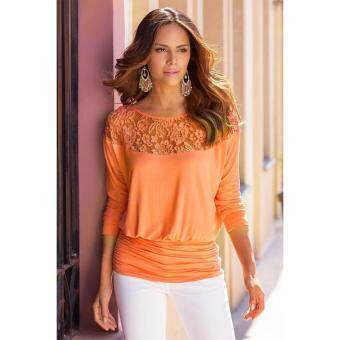 Harga MG Lace O-Neck Raglan Sleeve Solid Blouse Dolman Tops(Orange)