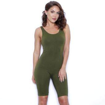 Harga MG Slim fit Bodycon Backless Jumpsuit Playsuit (Army Green)