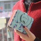 Harga Cute little kitty purse tassel zipper hit color printing short paragraph Women Girls wallet cartoon blue