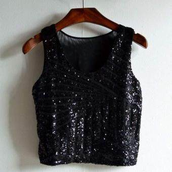 Harga MG Sexy Sequins Splicing Short Tank Tops (Gold)