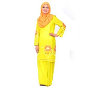 Harga Cotton & Silk Baju Kurung Moden - Cotton Embroidery - 1181 - A5 (Yellow)