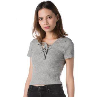 Harga Nichii V-Neck Bandage Sleeveless Top (Grey)