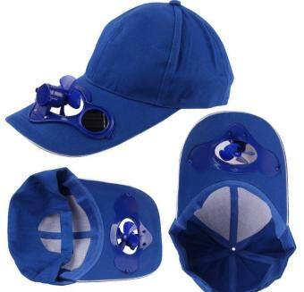 Harga Solar Fan Cap Sunscreen Cap Men/ Women Sun Hat (Blue)