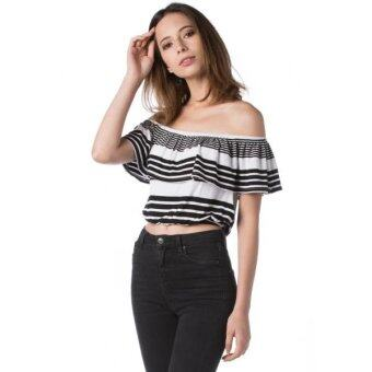 Harga Nichii Stripe Off The Shoulder Ruffle Sleeveless Top (White)