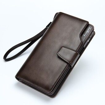 Harga Men Casual wallet Clutch bag long design men bag(Brown)