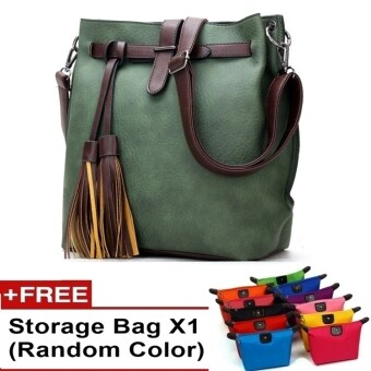 Harga Ancona European Style PU leather Slingbag Handbag bag tote canvas travel (Green)