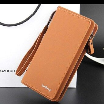 Harga Premium Men Long Wallet- Light Brown