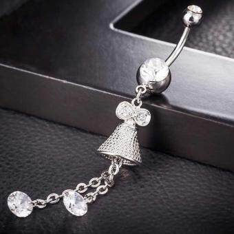 Harga Cute Stainless Steel Crystal Small Bell Dangle Belly Navel Belly Button Ring Curved Body Piercing Jewelry