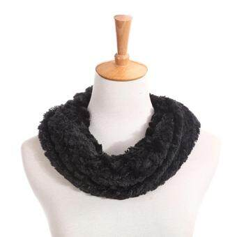 Harga MG Faux Fur Winter Circle Cowl Neck Cable Scarf(Black)