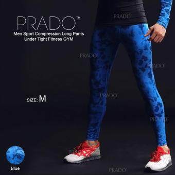Harga PRADO Men Sport Compression Long Pants Under Tight Fitness GYM MA48 - Long Pants Blue M