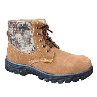Harga Labor Protection Shoes Safety Shoes Work Boots Steel Toe Cap Warm Anti-smashing Cowhide Shoes Wear Proof 43