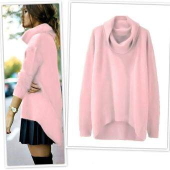 Harga MG Turtleneck Solid Asymmetrical Hem Pullover Sweater(Pink)