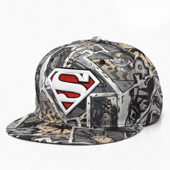Harga Hip hop graffiti embroidery Superman flat hat Grey