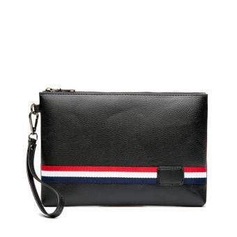 Harga Leather hand bag leisure stripes hit color wrist bag will carry a cell phone