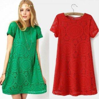 Harga YG Fashion Euro-American Short-sleeved Lace Dress (Red)