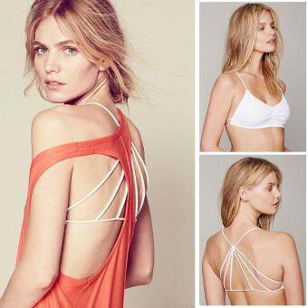 Harga MG Womens Summer Crop Tops Straps Bandage Backless Vest Tank Top Padded Bra Cut Out Shirt Wrap chest Beachwear (White)