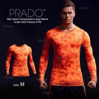 Harga PRADO Men Sport Compression Long Sleeve Under Shirt Fitness GYM MA46 - Long Sleeves Orange M