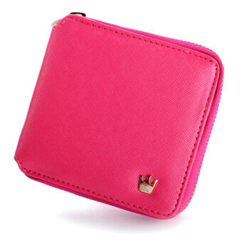 Harga Women Lady Crown Purse Leather Short Wallet Clutch Card Holder Handbag Coin Bag Rose red NEW