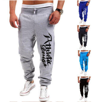 Harga Men's Fashion Casual Letters Printed Patch Pocket Sports Bundle Foot Cotton Sweat Absorbent Pants Trousers Joggers(Color:Grey)