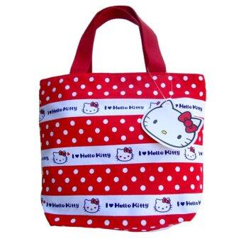 Harga Lulugift Cute Cat Kawaii Canvas Multiple Use Red Shopping Bag