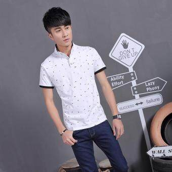 Harga 2017 Summer Guitar Printed Stand Collar Polo Shirt Men Short Sleeve Casual Men Shirts Slim Fit Polo Homme Cotton Mens Polos (White)