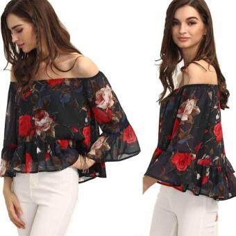 Harga MG Sexy Off Shoulder Summer Vest Top 3/4 Sleeve Floral Ruffle Chiffon Blouse Tops