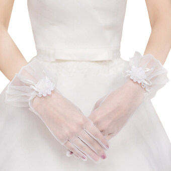 Harga Women's Soft Yarn Floral Gloves For Wedding Ceremony Prom White