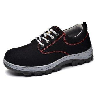 Harga Labor Protection Shoes Safety Shoes Work Boots Steel Toe Cap Wear ProofAnti-smashing Anti-puncture Thick Soft Soles Anti-slippery 43