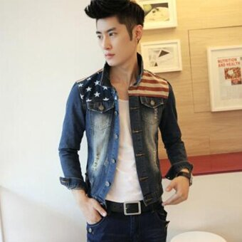 Harga Korean Style Denim Clothing Men 's Jacket Fashion Men' S Denim Jacket Hole Men 's Jacket