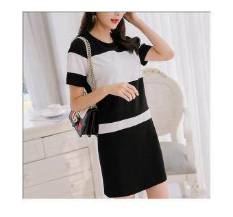 Harga JYS Fashion Korean Style Women Midi Dress Collection 95 8495-Black and White