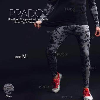 Harga PRADO Men Sport Compression Long Pants Under Tight Fitness GYM MA48 - Long Pants Black M