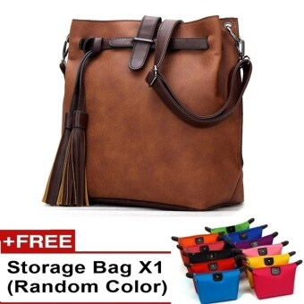 Harga Ancona European Style PU leather Slingbag Handbag bag tote canvas travel (Brown)