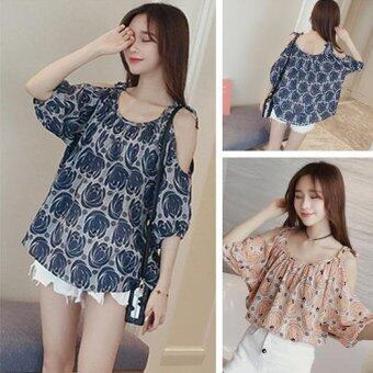 Harga JYS Fashion:Korean Style (Chiffon, Lace, Off Shoulder) Top Collection 96 8984-Blue